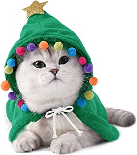 ANIAC Pet Christmas Costume Puppy Xmas Cloak with Star and Pompoms Cat Santa Cape with Santa Hat Party Cosplay Dress for C...