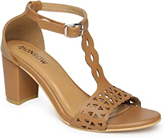 Monrow Adele Tan Lazer Cut Block Heel Sandals
