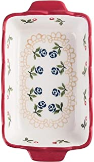 CZYNB Mini moule de cuisson multifonction en porcelaine durable avec motif rose imprimé double poignée d'oreille
