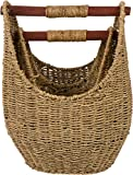 Trademark Innovations 12.2' & 9.4' Seagrass Baskets with Wooden Handles - Set of 2