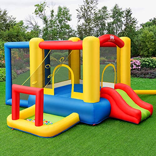 GYMAX Kids Inflatable Bouncy Castle, Large Play Bouncer House with Basketball Rim, Hand Pump and Carrying Bag for Garden Outdoor