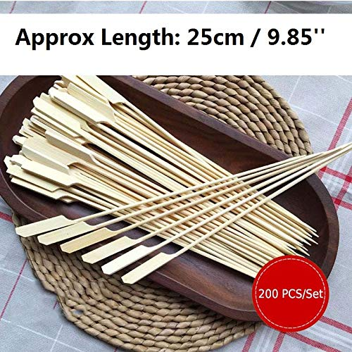 200pcs Bamboo Skewers Paddle Sticks BBQ Grill Kebab Barbeque Fruit Toothpicks Party Restaurant Supplies Outdoor Tools 25cm x 3mm,200pcs Bamboo stick