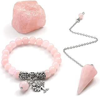 CrystalTears Healing Stones Crystals Kit-Rose Quartz Tree of Life Pendant Beaded Bracelet,Dowsing Pendulum,Rough Raw Stone for Reiki, Balancing,Meditation
