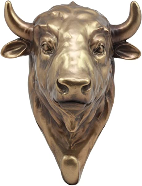 Ebros Bronzed Charging Bull Bust Wall Hook Hanger Animal Safari Trophy Taxidermy Wall Mount Sculpture Plaque Figurine 8 H Perfect Decor For Wall Street Investors Fathers Day Wildlife Hunters