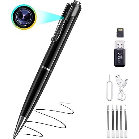 【2021進化版】Chilison ペン型カメラ 1080P高画質 隠しカメラ 超小型カメラ 32GB microSDカード付き ペンカメラ 長時間録画 写真撮り 録音 上書き保存可能 カメラ付きペン 防犯用 会議 商談 証拠撮影 ペン型ビデオカメラ