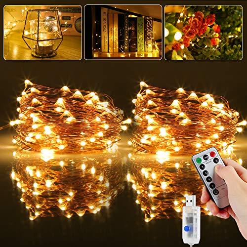 Led Lichterkette, [2 Stück] 20M 200LED USB Lichterkette Draht Wasserdicht mit Schalter, Kupferdraht Stimmungs Lichterkette für Zimmer, Innen, Weihnachten, Außen, Party, Hochzeit, DIY usw.