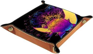 Moon with Peony Ethnic Dreamcatcher Valet Tray Storage Organizer Box Coin Tray Key Tray Nightstand Desk Microfiber Leather Po