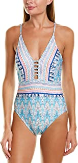 Women's V-Neck Lace Front One Piece Swimsuit