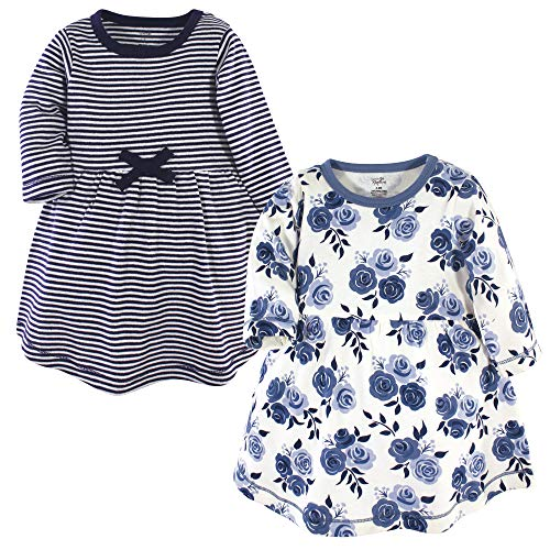 Touched by Nature Baby Girls Organic Cotton Dresses, Navy Floral Long Sleeve 2-Pack, 12-18 Months (18M)