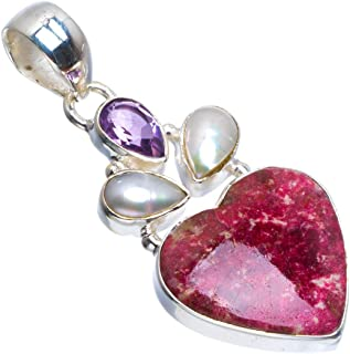 Natural Pink Thulite,River Pearl and Amethyst Handmade Love 925 Sterling Silver Pendant 1.75