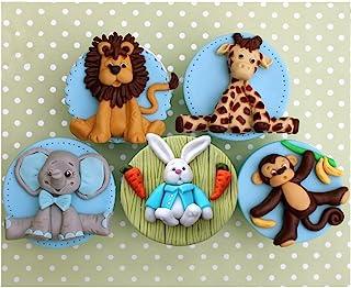 Comidox 5PCS Cartoon Forest Animal Silicone Fondant Mold Set Lion Elephant Monkey Giraffe Rabbit Silicone Clay Mold for Ki...