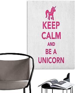 Alexandear Canvas Print Wall Art Keep Calm Keep Calm and Be a Unicorn Text with Magical Mythological Fairytale Pony Animal Pink White Living Room Wallpaper W32 x H48