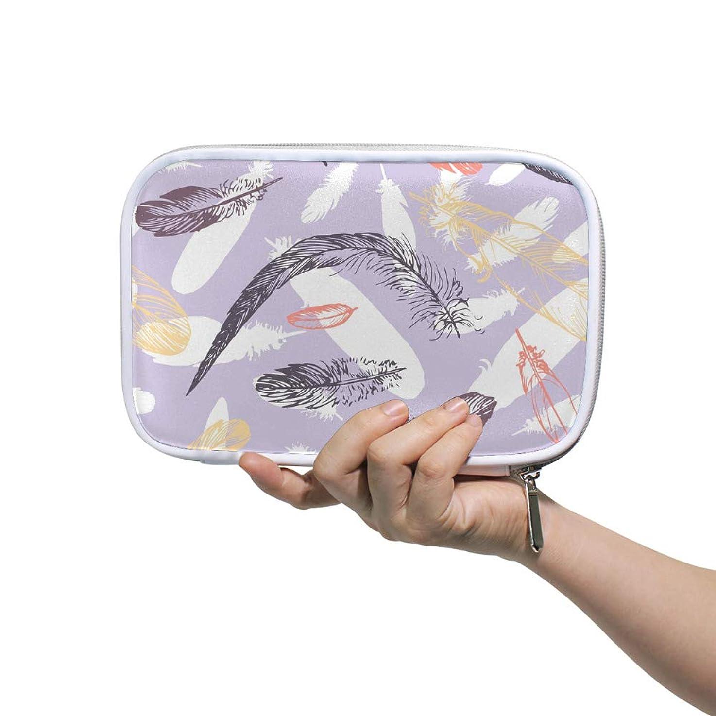 十分なチロ法的ZHIMI 化粧ポーチ メイクポーチ レディース コンパクト 柔らかい おしゃれ コスメケース 化粧品収納バッグ 綺麗な羽柄 機能的 防水 軽量 小物入れ 出張 海外旅行グッズ パスポートケースとしても適用