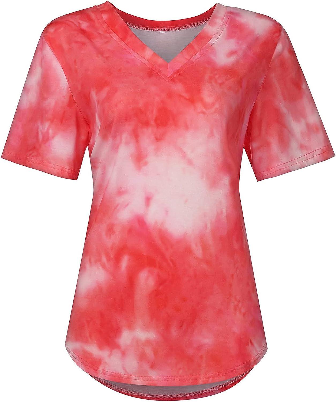 ESULOMP Casual Tunic Tops for Womens Girls Summer Tie dye Print V-Neck Short Sleeve T-Shirt Tops Blouse