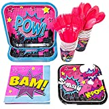 Superhero Girl Party Supplies (113+ Pieces for 16 Guests), Pink Hero Party Plates, Birthday Decorations, Napkins, Cups, Forks, Spoons, Party Tableware