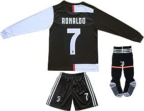 Feeke #7 Ronaldo Shirt Juventus Away Soccer Tshirt for Kids//Youth with Socks /& Shorts White