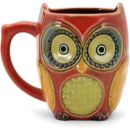 SQOWL 3D Coffee Mug Funny Cute Small Owl Ceramic Coffee Mug Tea Mugs Set for Women 12 oz Red