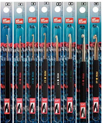 Wollhäkelnadel Prym Soft-Griff Aluminium silberfarben Länge 14 cm Stärke 4,5 mm