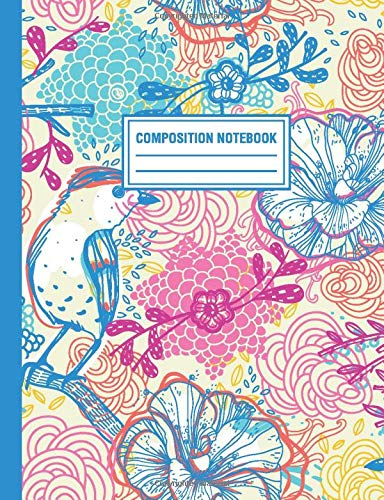 Composition Notebook: Rainbow Birds Pattern Composition Book For Students College Ruled