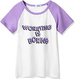 Arshiner Girls Active Short-Sleeve T-Shirts Graphic Tees Purple Size 4-5 Toddler