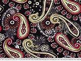 ab 1m: Viskose Mousseline, großes Paisleys, schwarz-rot,