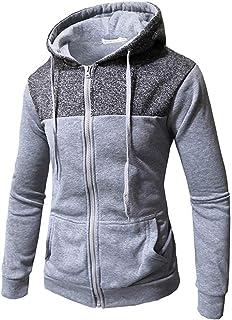 ESKNAS Mens Pullover Patchwork Long Sleeve Pocket Hoodies Blouse Top Winter