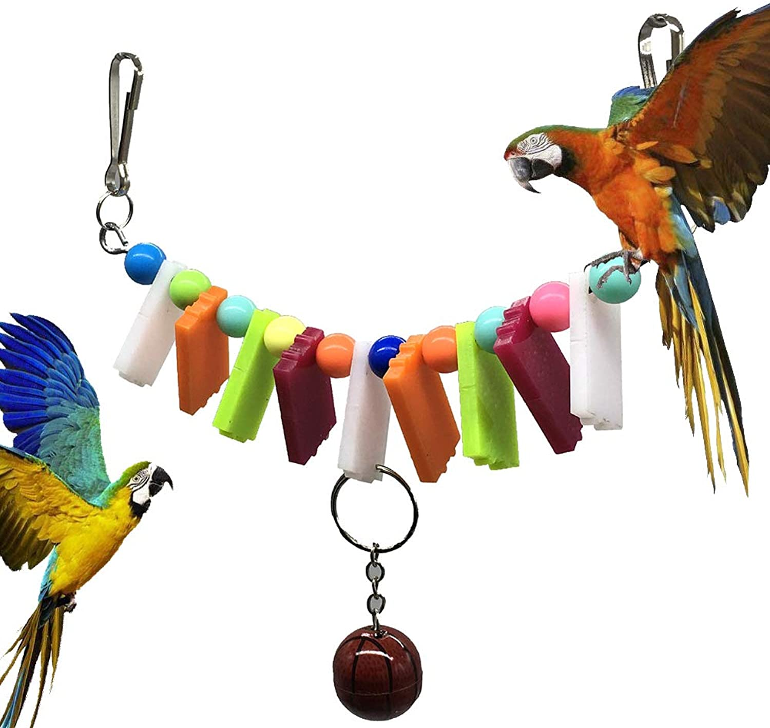 Bird Toy Parred Bite Acrylic color Basketball Toy Pet Supplies Birdcage Decoration Hanging String Accessories