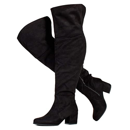 Womens Ladies Over The Knee Thigh High Wide Calf Stretch Suede Long Boots Size