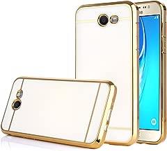 TabPow Galaxy J7 Prime 2017 Case, Electroplate Slim Glossy Finish, Drop Protection, Shiny Luxury Case for Samsung Galaxy J7 Perx/Galaxy J7 Sky Pro/Galaxy J7 V / J7 2017 -White Gold