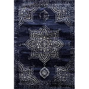 Persian-Rugs 5934 Distressed Navy 5 x 7 Area Rug Carpet Large New