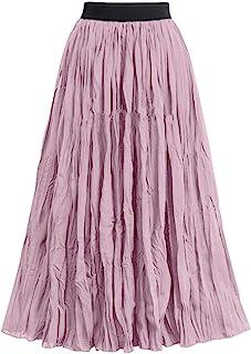 Remanlly Women Long Skirts Elastic Waist Pleated Maxi Skirts Beach Boho Vintage Summer Long dress
