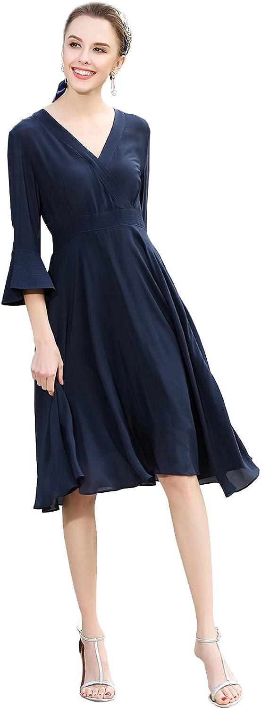 Oriental Pearl Women's Elegant Slim Pagoda Sleeve V Neck Silk Midi Dresses