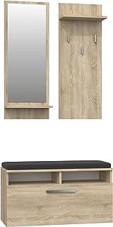ADGO Riva Ensemble de meubles de couloir 3 en 1 avec armoire, miroir et cintre et armoire à chaussures, penderie, vestiair...