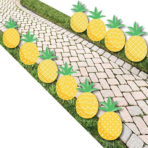 Big Dot of Happiness Tropical Pineapple - Pineapple Lawn Decorations - Outdoor Summer Party Yard Decorations - 10 Piece