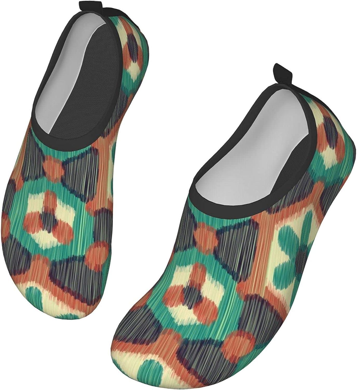Ikat Green Floral Texture Mens Womens Quick Dry Barefoot Beach Pool Swim Diving Surf Aqua Sports Walking Yoga Water Shoes
