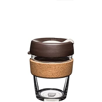 KeepCup Brew Cork Reusable Glass Coffee Travel Mug | Medium 12oz 340ml, Fika