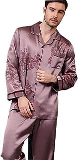 Mandaartins Men's Silk PJS Long Sleeve Pajamas Set Dragon Lucky Pattern Loungewear 22 Momme Real Mulberry Silk Sleepwear N...