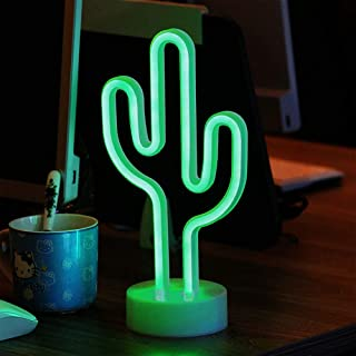ENUOLI Green Cactus Neon Signs with Base LED Neon Light Sign USB 3-AA Battery Powered Light for Party Supplies Girls Room Decoration Accessory for Summer Party Table Decoration Children Kids Gifts