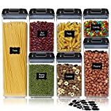 Ecowaare Airtight Food Storage Containers with Lids, 7 Piece Plastic Cereal Cotainers Storage Set, Kitchen Pantry Organization Containers Ideal for Spaghetti,Cereal, Pasta, Nuts