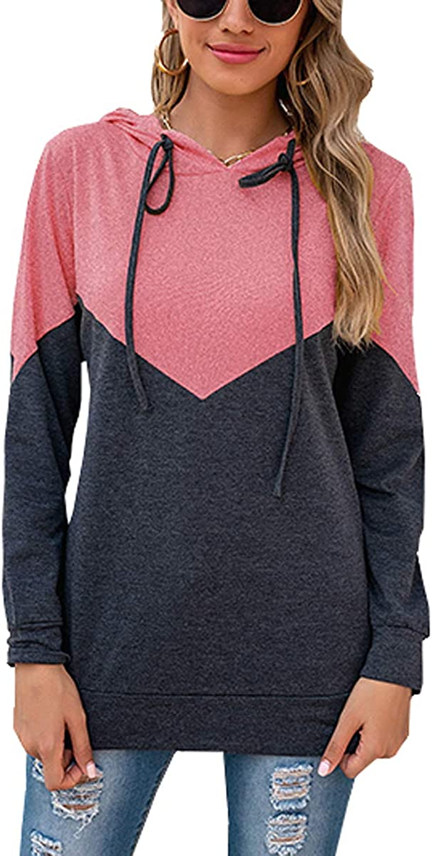 At the price of surprise Lashapear Women's Long Sleeve Color Block Lowest price challenge Casual Hoodies P Loose