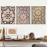 LZASMMVP Arte marroquí de Pared con Estampado de Mosaico, Pintura en Lienzo, póster árabe, Estilo Bohemio, Cuadros de Pared para la decoración del Dormitorio de la Sala de Estar | 40x50cmx3 sin Marco