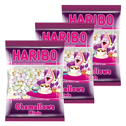 Haribo Chamallows Minis, 3er Set, Schaumzucker, Marshmallows, Mausespeck, 3 Beutel zu je 200 g