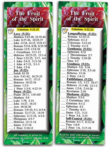 The Fruit of The Spirit Bible Study Cards - Inspirational Scripture Cards, Encourage and Share The Gospel, Full Color, Pack of 25 Religious Bookmarks - 2.75 x 8.25 inches, by eThought