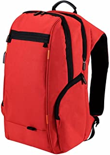 Nrpfell Outdoor Multi-function Power Breathable Casual Backpack Laptop Bag with Handle, External USB Charging Port red