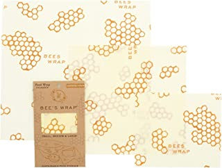 Bee's Wrap Assorted 3 Pack, Eco Friendly Reusable Beeswax Food Wraps, Sustainable, Zero Waste, Plastic Free Alternative for Food Storage – 1 Small, 1 Medium, 1 Large