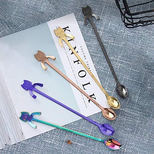 DACHENGJIN Cubiertos 5 PC Juego de Mezcla de Colores de Cuchara de Acero Inoxidable Estilo Gato de Dibujos Animados Creativo, Longitud: 19,3 cm