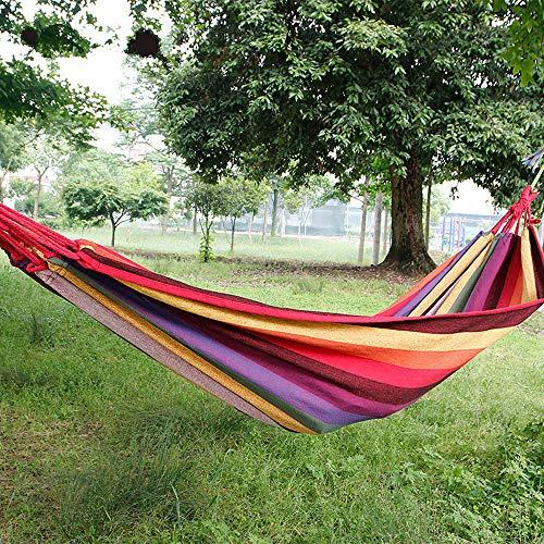 Novopus Hamac: Hamac de Camping Extérieur pour Sport extérieur, Extensible, Facile à Installer Anti déchirure Haute densité, Métissé Coton/Lin pour 2 Personne Bleu de Minuit, Jaune:Jaune