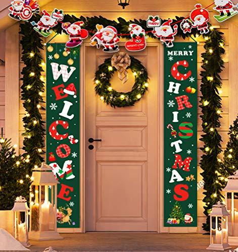Idefair Frohe Weihnachten Banner, Neujahr Outdoor Indoor Weihnachtsdekoration Willkommen Hellgrün Weihnachten Veranda Schild Hängend für Hauswand