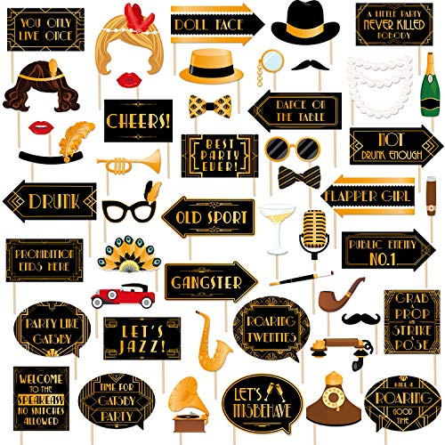 49pcs Roaring 20s Photo Booth Props Great Gatsby Party Decorations 1920s Party Supplies 20's Twenties Party Favors Jazz Flapper Speakeasy Party Decor