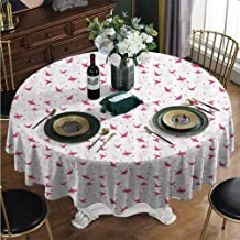 PINAFORE-HOME Tablecloth Decorative Print Pattern, Origami Cranes with Hearts Water Resistant and Stain Resistant Round Table Cover Polyester Machine Washable Diameter - 63 Inch